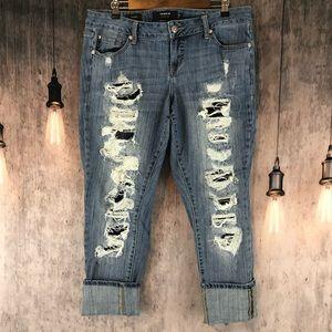 Torrid Premium Distressed Boyfriend Cropped Jeans